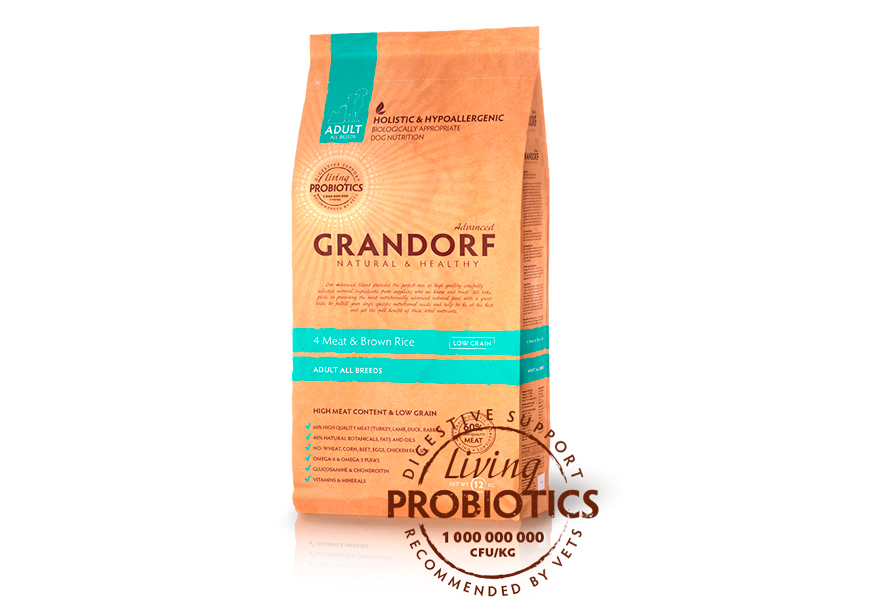 grandorf living probiotics 4 meat & brown rice all breeds